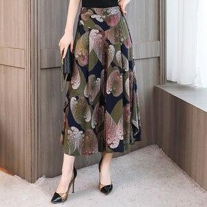 Image 3 - Baskı geniş bacak pantolon kadın elastik bel etek pantolon gevşek geniş bacak pantolon kadın artı boyutu 4XL pamuk ayak bileği uzunluğu pantolon