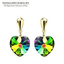 Neoglory ювелирный светильник желтого золота Австрийские кристаллы, сердце Висячие серьги для женщин Мода новое поступление