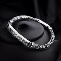 Handcrafted 100% 925 Silver Man Bracelet Vintage Sterling Chain Bracelet Pure Silver Good Luck Symbol Bracelet