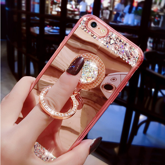 360 Ring Stand Soft Diamond Mirror Case For iPhone