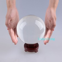 12cm Crystal Ball Clear White Transparent 120mm Glass Sphere Large Marble Gift Box Wooden Base