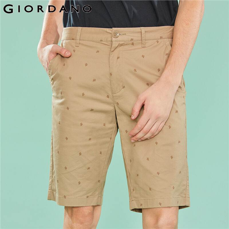 Giordano Men Printed Shorts Men All-over Printing Casual Stretchy Slim Fitting Shorts Masculino Mid Low Rise Zip Fashion Bermuda
