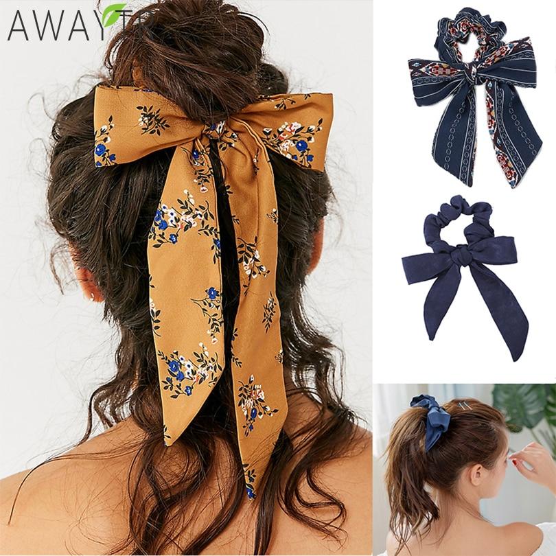 AWAYT Bow Streamers Hair Ring Fashion Ribbon Girl Hair Bands Scrunchies Horsetail Tie Solid Headwear Hair Accessories