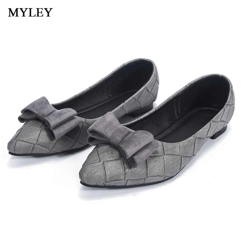MYLEY 2017 Bowknot Flat Shoes Woman Loafers Flexible Comfortable Casual Pointed Toe Shoes Women Flats Women Shoe 2017 fashion printing pointed toe loafers women flat heel shoes casual shoe woman plus size 33 43