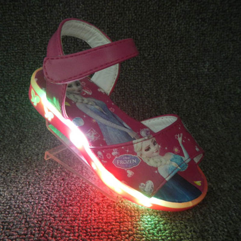 b97602b121 US $8.99 |Disney frozen pink girls sandals with LED light 2018 elsa and  Anna princess kids Cartoon shoes Europe size 26 31-in Sandals from Mother &  ...