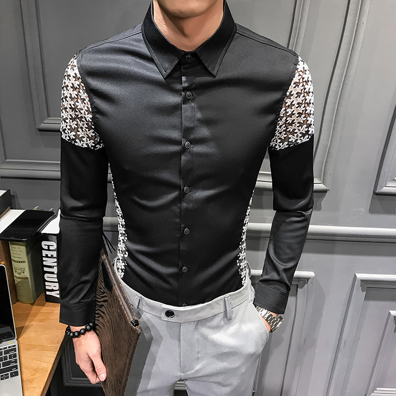 Image 3 - Spring 2019 New Men Shirt Long Sleeve Sexy Lace Patchwork Shirt Dress Streetwear mens shirts casual slim fit overhemden herenCasual Shirts   -