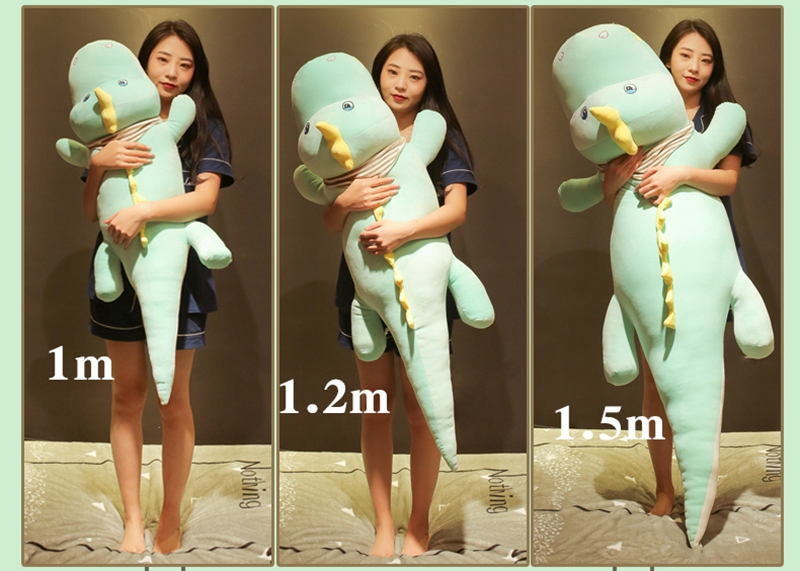 Dorimytrader kawaii crocodile plush toy doll giant animal alligator sleeping cushion bed pillow girl cute birthday gift 120cm 150cm DY50545 (11)