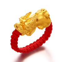 New Pure 999 24K Yellow Gold 3D Bless Pixiu Man &Woman's Lucky Knitted Ring 10*18*8mm