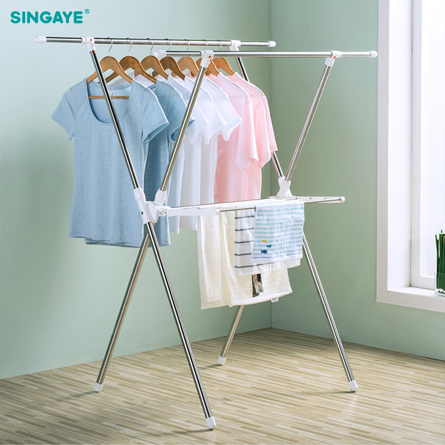Singaye Big Foldable Clothes Hanger Dryer Stainless Steel Standing