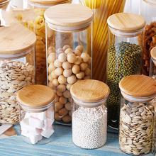Mason słoik na cukierki na przyprawy szklana okładka bambusowa pojemnik szklane słoiki z zakrętkami słoik na ciastka słoiki kuchenne i pokrywki hurtowo tanie tanio CN (pochodzenie) Nowoczesne Szkło HC1017C for Spices with lids tea coffee sugar storage jars
