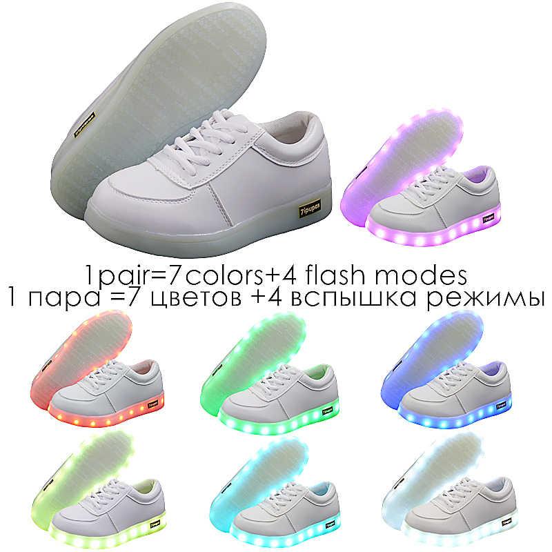 7 ipupas 2018เด็กรองเท้าLedแฟชั่นที่มีคุณภาพสูงนำรองเท้าผ้าใบที่มีสีสันเด็กส่องสว่างรองเท้าผ้าใบสาวสีขาวlight upรองเท้า