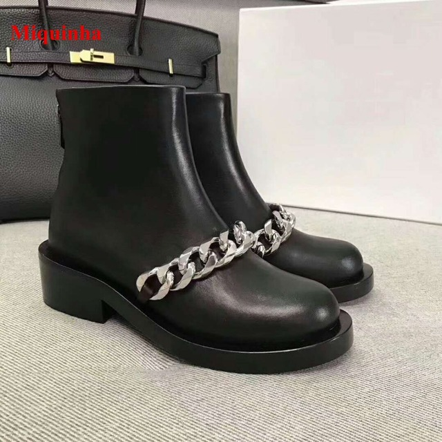 8040ce41f0d 2018 Hot Winter Boots Women Black Chain Metal Decoration Zipper Women  Motocycle Boots Leather Ankle Shoes Women Casual Boots