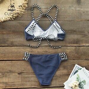Image 4 - CUPSHE granatowy selera i Strappy Bikini Set Sexy Lace Up strój kąpielowy strój kąpielowy dwuczęściowy kobiety 2019 dziewczyny na plaży kostiumy kąpielowe
