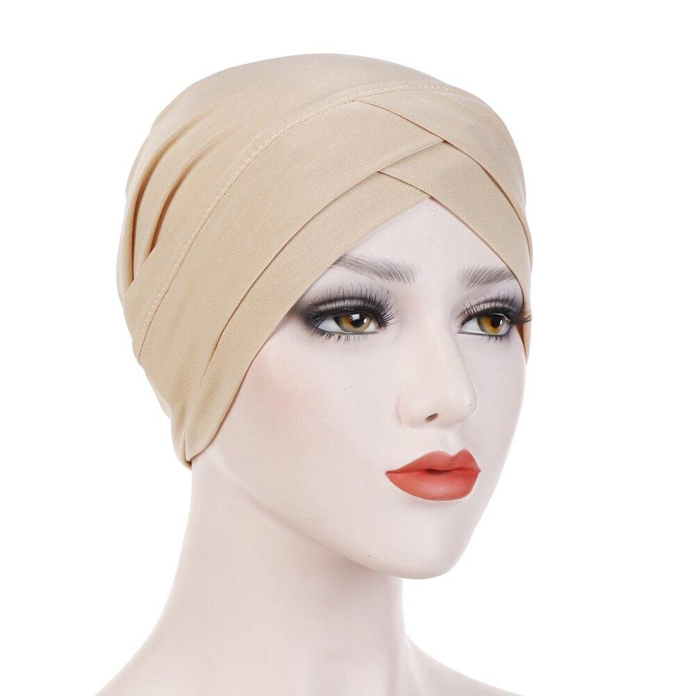 Женский хлопковый хиджаб, шарф, тюрбан, шапка, мусульманский головной платок, солнцезащитная Кепка, мусульманский Многофункциональный тюрбан, фуляр, femme musulman - Цвет: beige