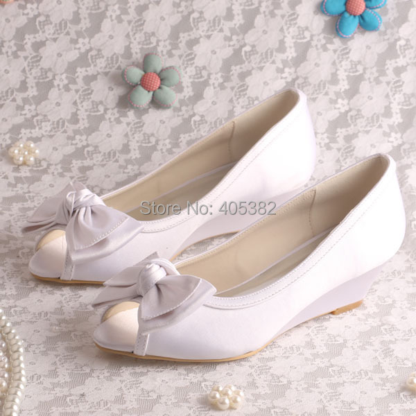 (20 Colors)Custom Color Big Bows Low Heel Wedge Shoes Wedding White Satin Bridal Pumps