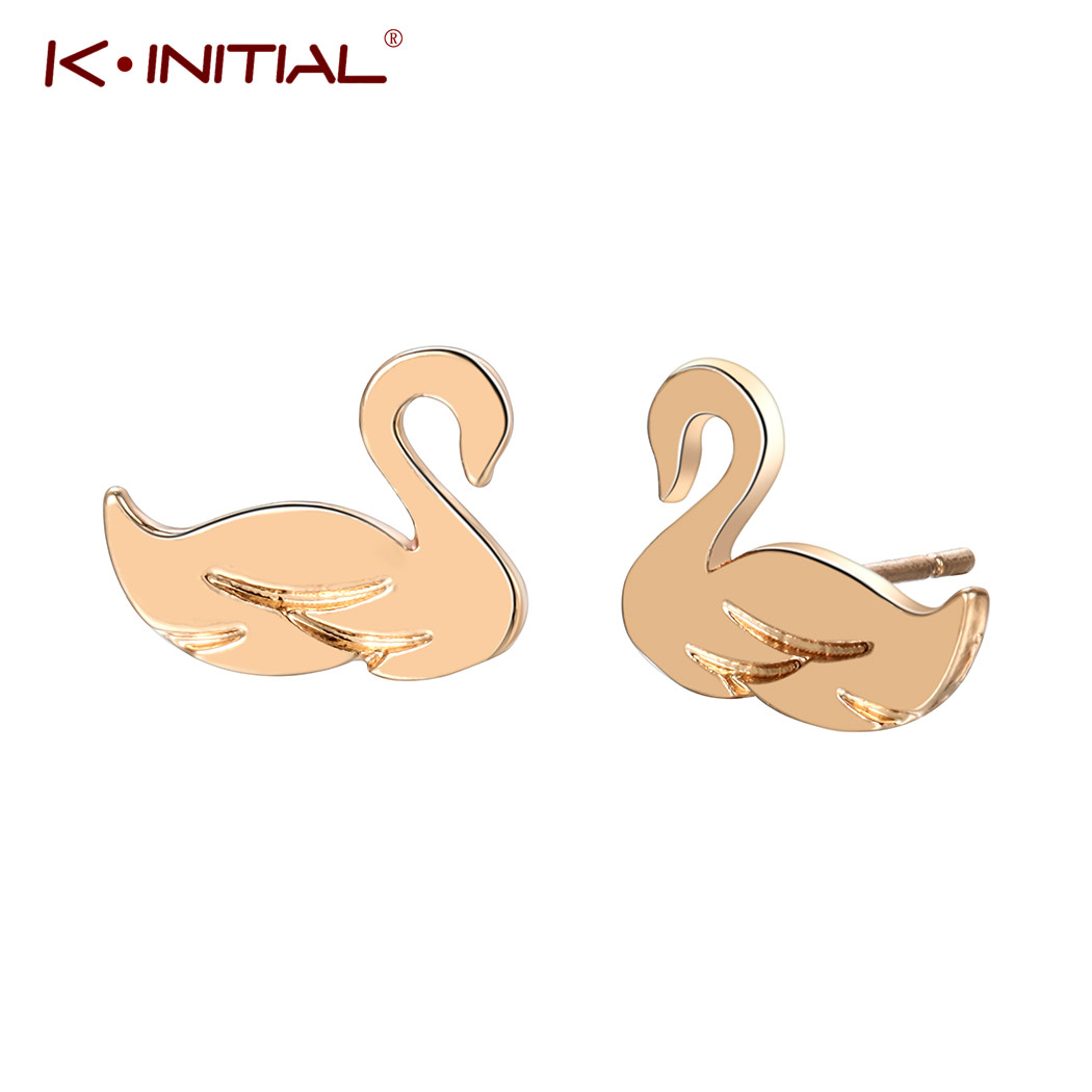 Us 0 81 52 Off Kinitial New Elegant Gold Silver Animal Swan Stud Earrings Duck Design Cute For Women Kids Party Brincos In