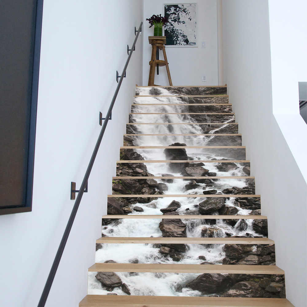 Creative 3D Waterfall Scenery Decorative Stair Stickers Funny DIY Art Wall Stickers for Living Room Kids Room Home Decor