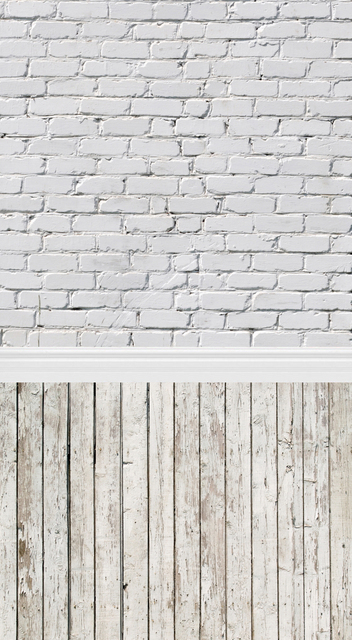 Vertical Hot Sale White Brick Wall Print Art Fabric Photo Studio Backdrops PC Painted Baby Background