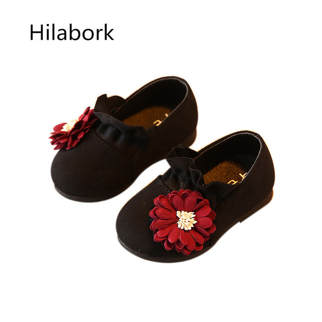 2017 spring new baby children's shoes 0-1 year old boys and girls high quality suede fashion flowers soft bottom school shoes