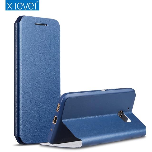 X-уровень pu кожаный раскладной телефон case для htc m10 роскошь бизнес стиль стенд case cover for htc m10