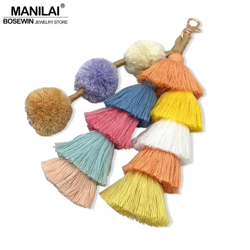MANILAI Bohemian Handmade Bag Pendant Accessories Women 230mm Multicolor Cotton Tassel Key Chain Fashion Jewelry Charm Keychain tassel charm grab bag 3pcs