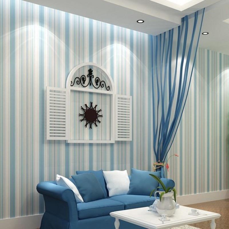 Beibehang moda moderna bianco orizzontale a strisce blu for Rotolo carta parati
