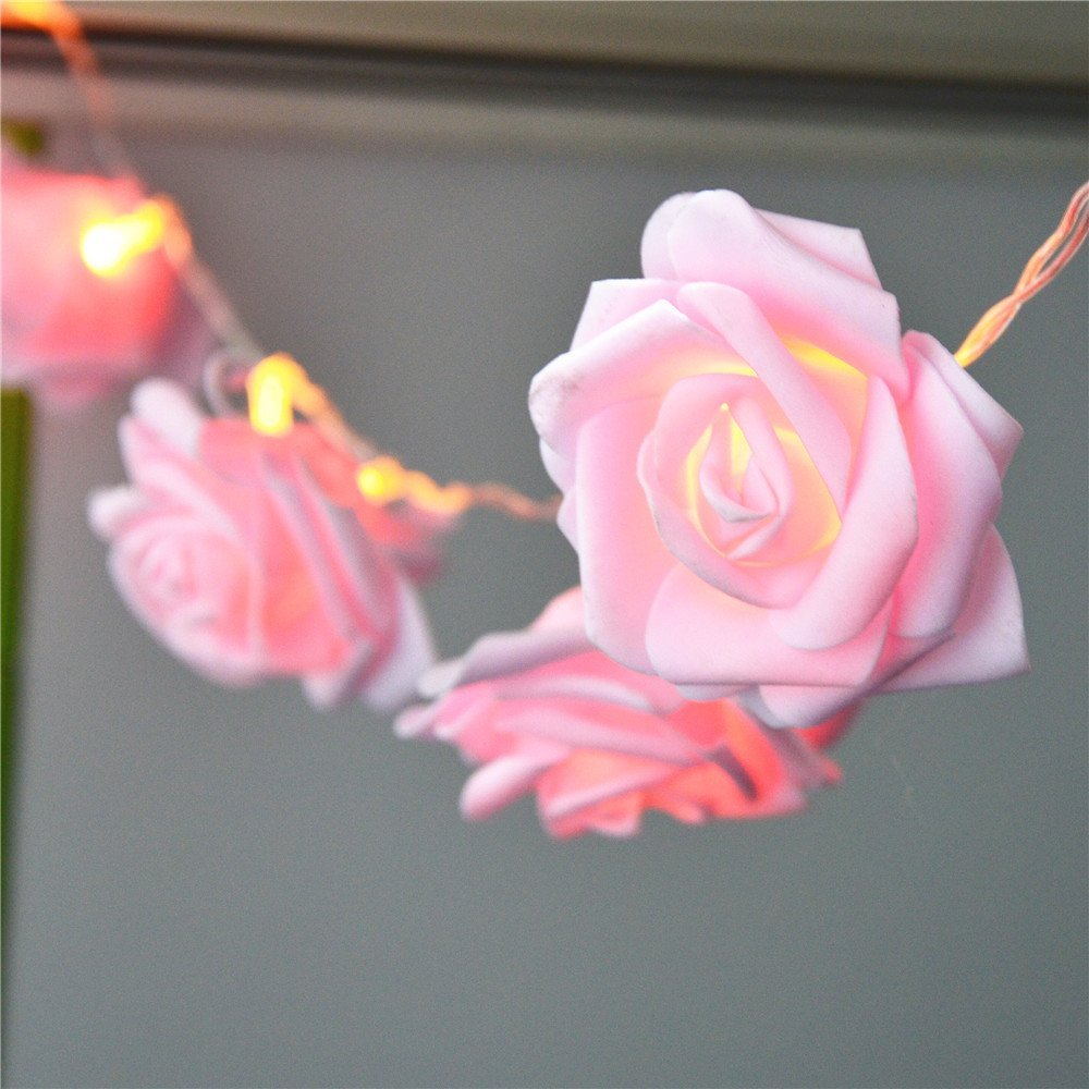 Battery Powered 2.2M 20LED Pink Rose Flower String Lights Clear Cable  Bedroom Decoration Wedding Party Indoor Girl Birthday Gift In Holiday  Lighting From ...