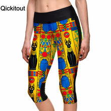 Qickitout Capri Pants 2016 Wholesales Women's 7 Point Pants Ancient Egypt Digital Print Women High Waist Side Pocket Phone Pants(China)