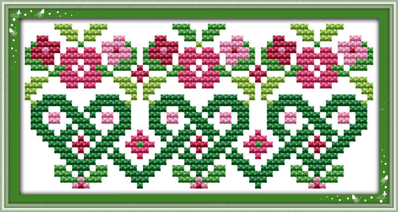 Pink flowers cross stitch kit mini small picture painting set 14ct 11ct count white canvas embroidery DIY handmade needlework
