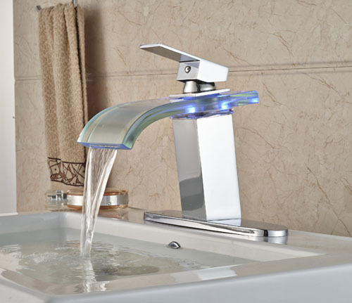Contemporary Chrome Finish LED  Bathroom Glass Spout  Glass Bathroom Sink Faucet   Mixer Tap with Hole Cover Plate chrome brass bathroom waterfall spout bathroom sink faucet single handle mixer tap with cover plate contemporary style