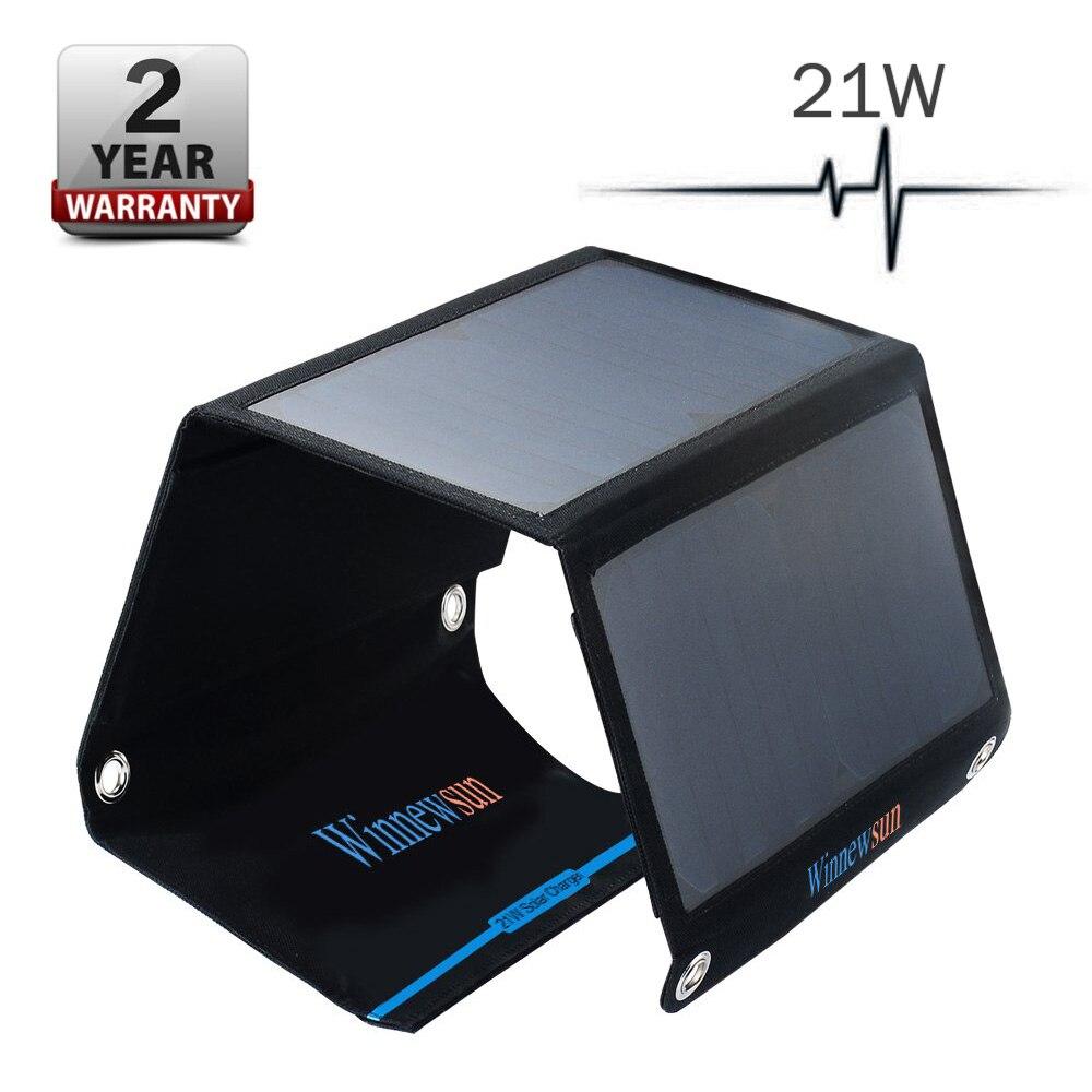 Winnewsun 21 W 5 V pliant panneau solaire Portable 5 V batterie solaire pour téléphone Portable de Table à l'extérieur double USB