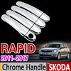 For Skoda Rapid 2011 2017 Chrome Handle Cover Trim Set Sedan Comib 2012 2013 2014 2015