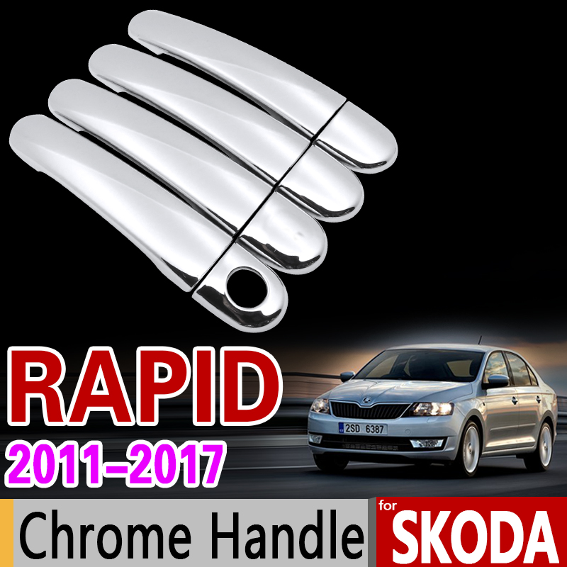 for Skoda Rapid 2011-2017 Chrome Handle Cover Trim Set Sedan Comib 2012 2013 2014 2015 2016 Car Accessories Stickers Car Styling high quality stainless steel side moulding cover 6pcs set car styling accessories for porsche cayenne 2011 2012 2013 2014