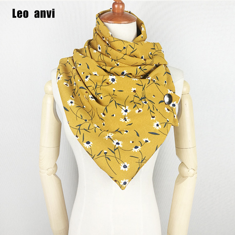 Hot Sale Chiffon Silk Print Flowers Ring Scarf With Buttons Fashion Foulard Femme Hijab Women Scarf And Shawl
