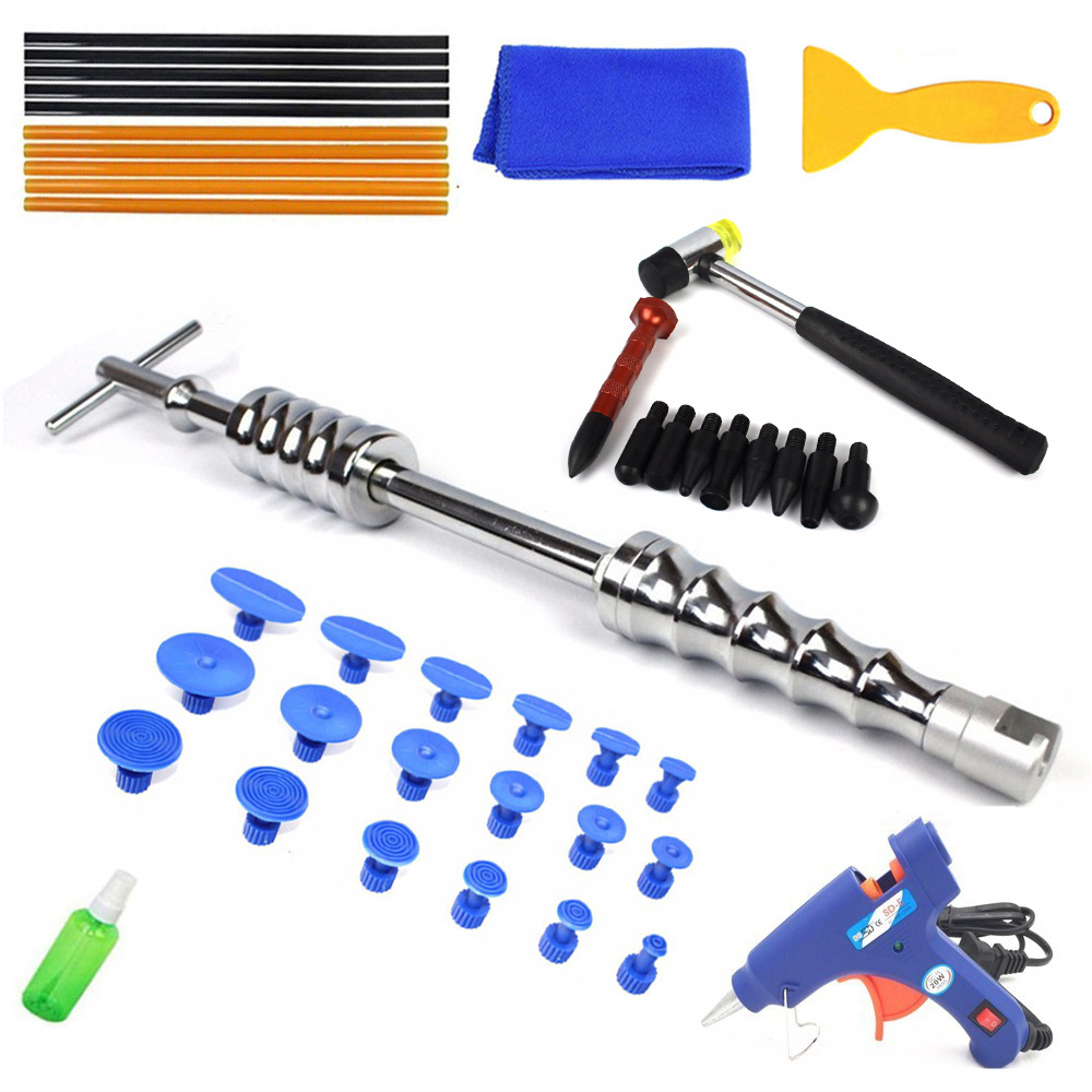 PDR Tools Car Repair Kit Paintless Dent Repair Dent Removal Slide Hammer Glue Stick Reverse Hammer Glue Tabs For Hail Damage