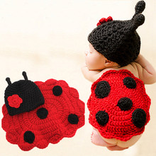 Baby Infant Animal Costumes Soft Handmade Knitted Newborn Wool Crochet Beetle Photography Props With Cap 2 pieces Sets(China)
