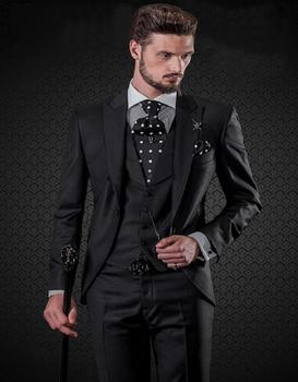 Classic Style Black Groom Tuxedos Groomsmen Men's Wedding Prom Suits Bridegroom (Jacket+Pants+Vest+Tie) K:911