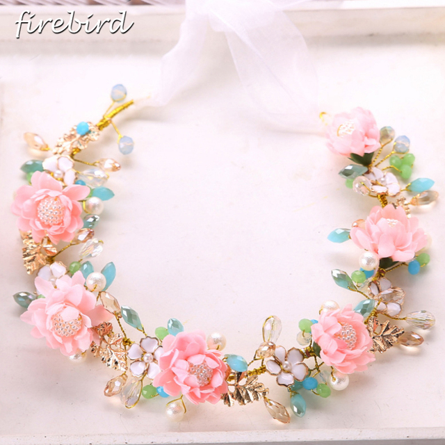 Pink Red Color Flower Crystal Bridal Headband And Earrings Pearl Tiara Hair Ornaments Beach Wedding