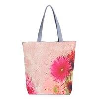 5pcs( ASDS Women's fashion canvas shoulder bag flower printed canvas shopping bags(Light pink)