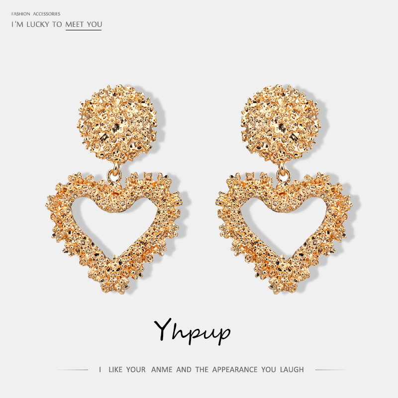 Yhpup Stylish Simple Design Zinc Alloy Heart Geometric Dangle Earrings Temperament Statement Gold Earrings for Female Party Gift