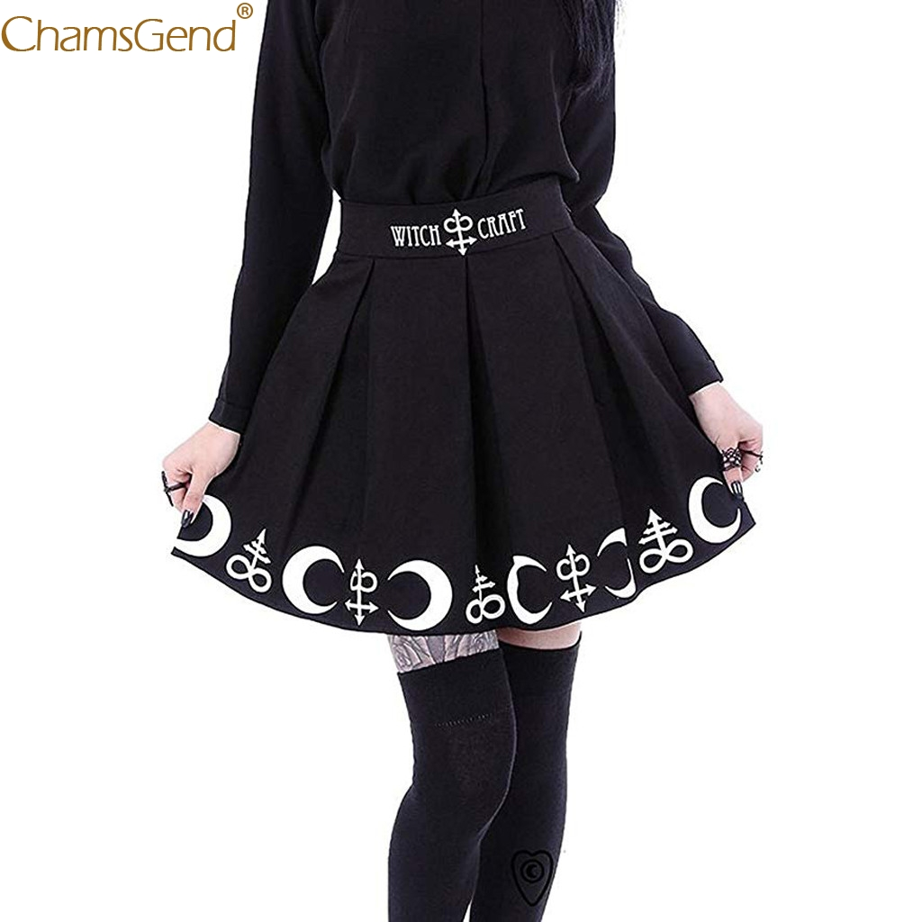 Skirts Womens Symbols Witchcraft Magic Spell Gothic Punk Black Design Moon with Summer title=