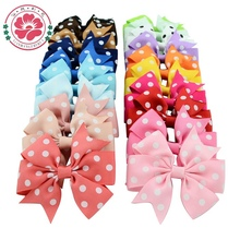 ( 40 pcs/lot)  3 inch Polka Dot Grosgrain Ribbon Boutique Bows hair Bow With Clips Hairpins Hair Ornaments 592