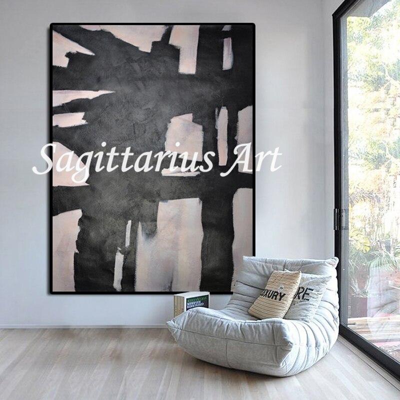 Fait à la main moderne noir et blanc Horizontal contemporain peintures à l'huile abstraite toile Art mural décoration de la maison Art fin