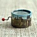 Paris city style paper round hand crank music box 18 Notes music box movement DIY romantic musica christmas present