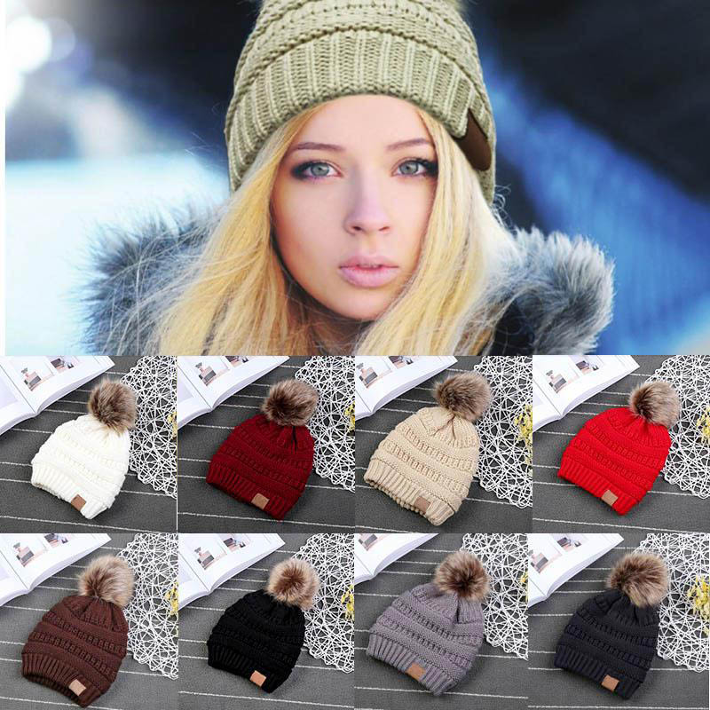 80ea14c638f30 New Woman Winter Hat Beanie Faux Fur Pom Pom Ball For Hats Knitted Cap  Skully Warm Ski Hat Trendy Soft Brand Thick Female Caps