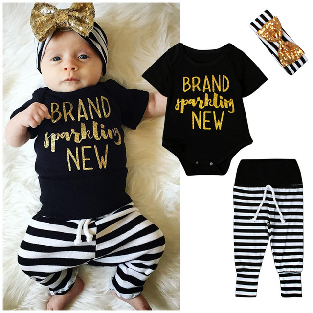 bc6dee036fec8 2016 New Autumn Clothes Baby Boys Girls Sport Suit T-shirt Striped Trousers  Bow Headband