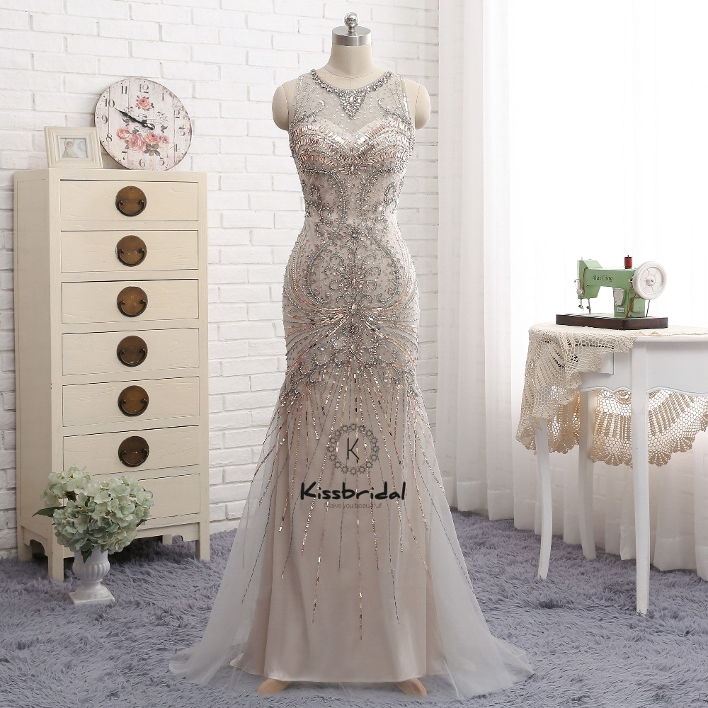 New Beautiful   Evening     Dress   Long Beading Tulle Women Party Prom Gowns Sleeveless robe de soiree