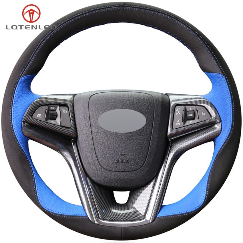 Lqtenleo Zwart Suede Blauw Lederen Stuurhoes Voor Chevrolet Malibu 2011-2018 Volt Camaro 2011-2015 Aveo 2016-2018 Rillingen En Pijnen