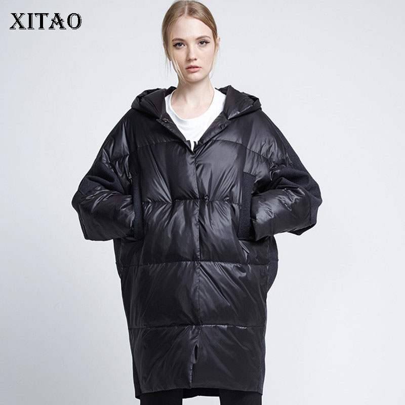 [XITAO] Women 2018 Autumn Korea Fashion Wide-waisted Single Breasted Full Sleeve Turn-  down   Collar Patchwork   Down     Coat   LJT4092