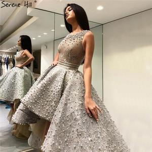 Image 1 - Vestidos de Noche asimétricos de tul, ropa de noche gris, Sexy, bordada con perlas, sin mangas, Formal, de noche, Hill HM66595 Serene, 2020